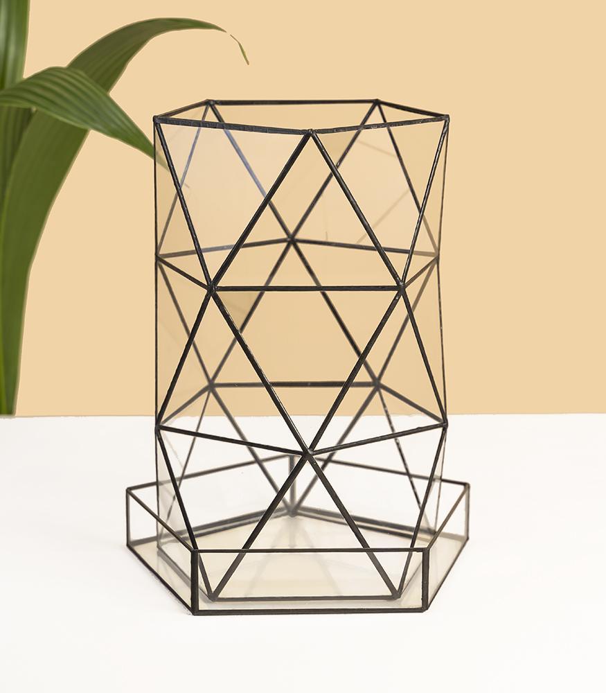 купить стеклянное геометрическое кашпо