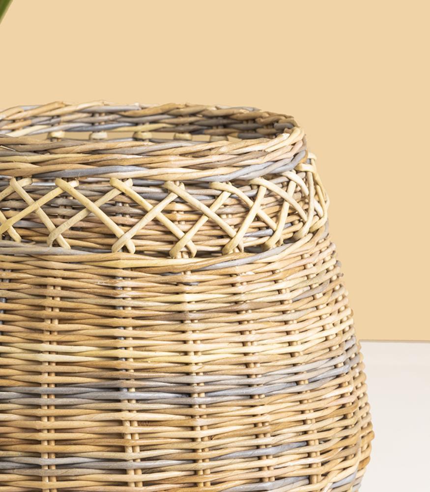 Кашпо ручной работы плетенное из эколозы купить